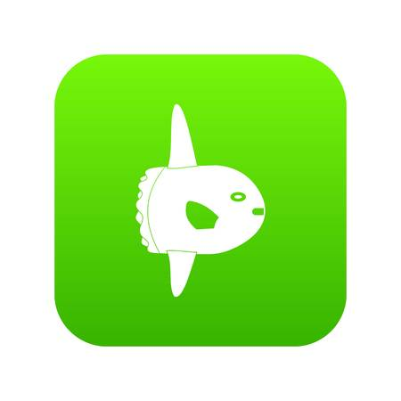 Small fish icon head on digital green background