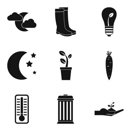 Greenery icons set on black illutration