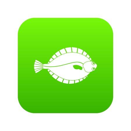 Flounder icon  on digital green background Illustration