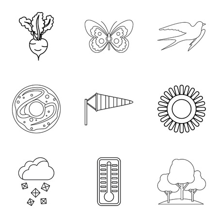 Wheat variety icons set, outline style vector illustration