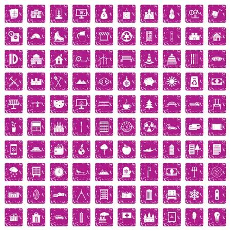 100 villa icons set grunge pink