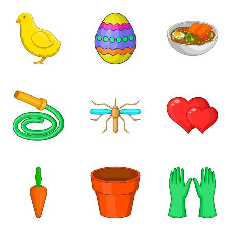 Vegetable slicing icons set, cartoon style vector illustration