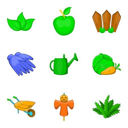 Vegetable kit icons set, cartoon style vector illustration Vettoriali