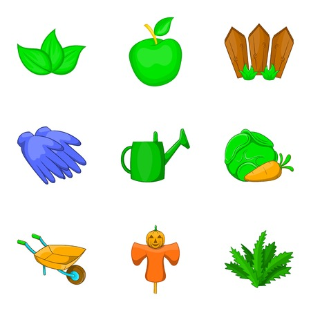 Vegetable kit icons set, cartoon style vector illustration Çizim