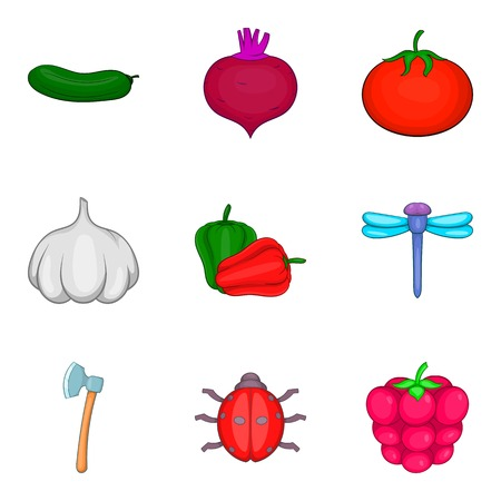 Plant origin icons set, cartoon style vector illustration
