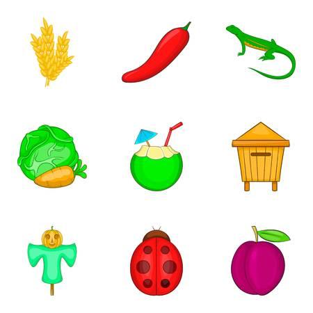 Vegetable origin icons set, cartoon style