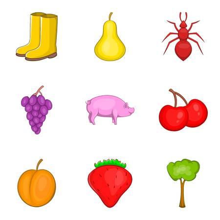 Origin icons set like pig,ant and pear, cartoon style Illustration