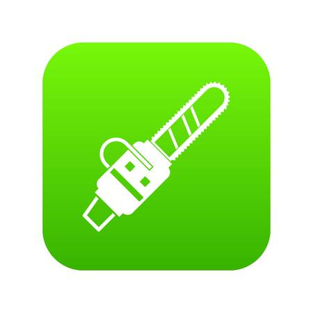 Gasoline powered chainsaw icon digital green.