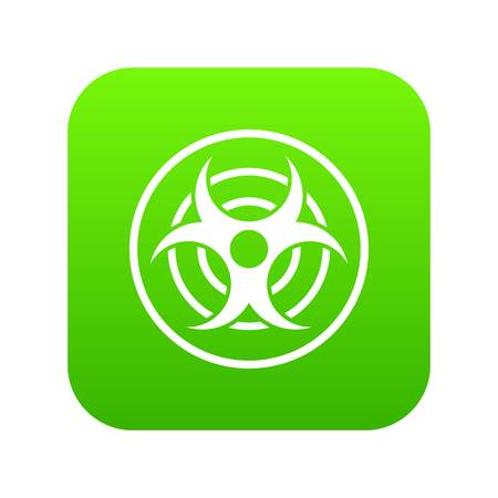 Sign of biological threat icon digital green.