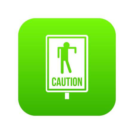 Zombie road sign icon digital green for any design isolated on white vector illustration Illustration