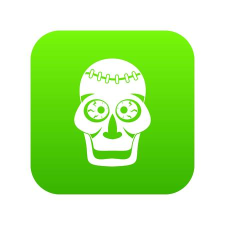 Skull icon digital green for any design isolated on white vector illustration