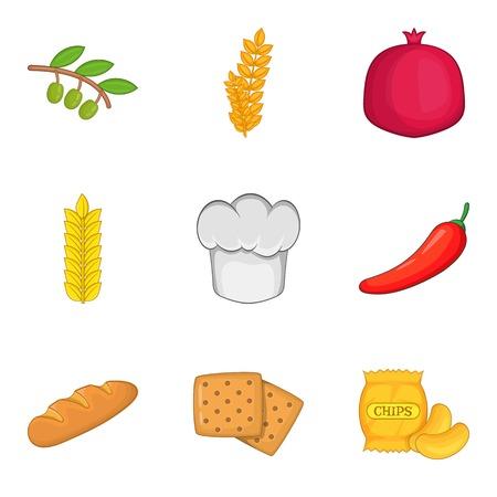 Vegan style icons set. Cartoon set of 9 vegan style vector icons for web isolated on white background