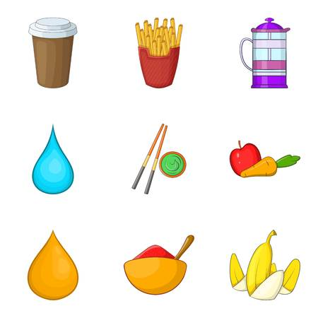 Raw foodist icons set. Cartoon set of 9 raw foodist vector icons for web isolated on white background