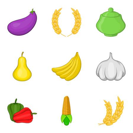 Fruit diet icons set. Cartoon set of 9 fruit diet vector icons for web isolated on white background