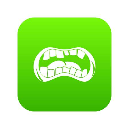 Zombie mouth icon digital green for any design isolated on white vector illustration