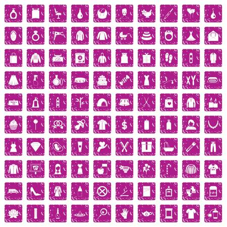 100 woman icons set in grunge style pink color isolated on white background vector illustration