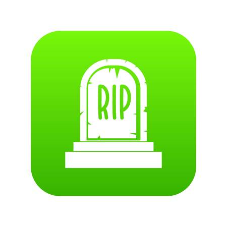 Gravestone with RIP text icon digital green for any design isolated on white vector illustration