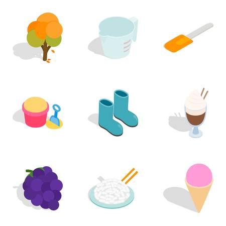 Vegetarian place icons set, isometric style.
