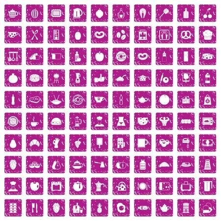 100 breakfast icons set grunge pink.