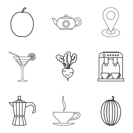 Vegetarian ration icons set, outline style vector illustration Vectores
