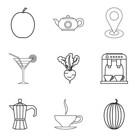 Vegetarian ration icons set, outline style vector illustration Vettoriali