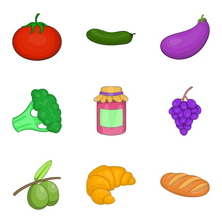 Farm harvest icons set, cartoon style vector illustration