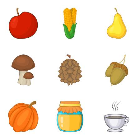 Adequate nutrition icons set, cartoon style vector illustration Vettoriali