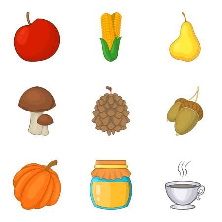 Adequate nutrition icons set, cartoon style vector illustration Illustration