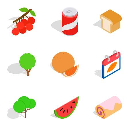 Tropical food icons set, isometric style vector illustration