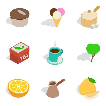 Tea enjoyment icons set. Isometric set of 9 tea enjoyment vector icons for web isolated on white background Vettoriali
