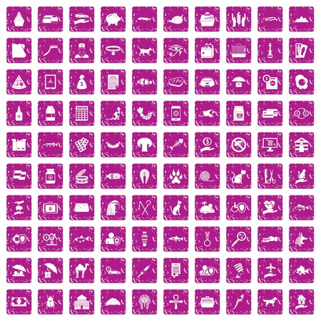 Cat icons set in grunge style pink color isolated on white background vector illustration