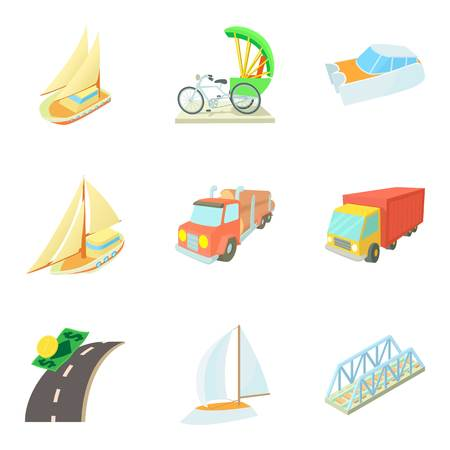 Means of transportation icons set, cartoon style vector illustration