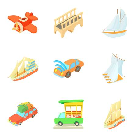 Mode of transport icons set like cars, airplane and ship, cartoon style