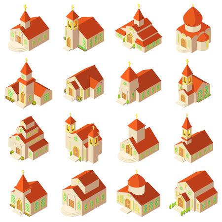 Church building icons set, isometric style. Illustration