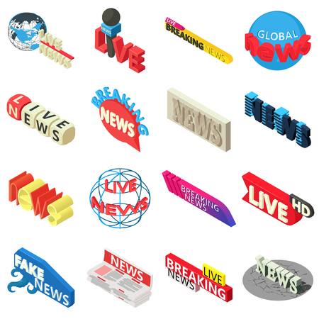 News live breaking label icons set. Isometric illustration of 16 news live breaking label vector icons for web
