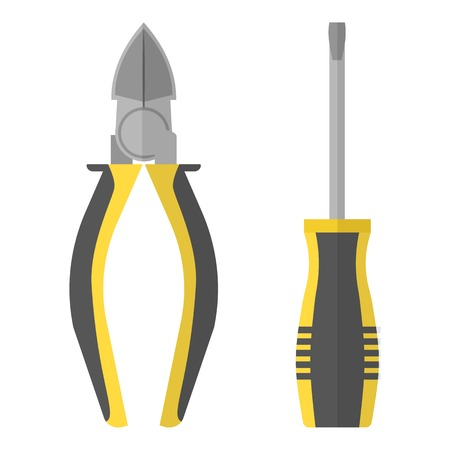 Screwdriver and pliers icon. Flat illustration of screwdriver and pliers vector icon for web Çizim