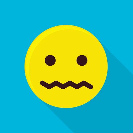 Sad emoticon icon. Flat illustration of sad emoticon vector icon for web