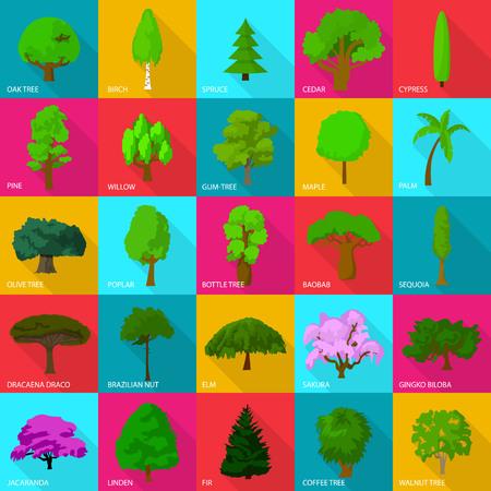 Tree types icons set, flat style. Illustration