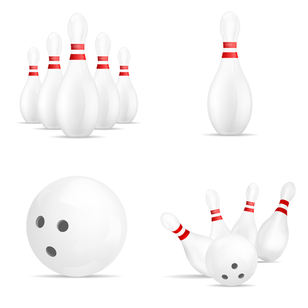 Bowling mock up set, realistic style.