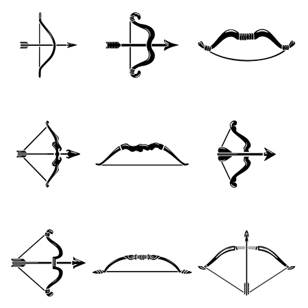 Bow arrow weapon icons set, simple style