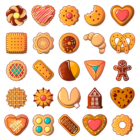 Cookies biscuit icons set in various shapes, cartoon style