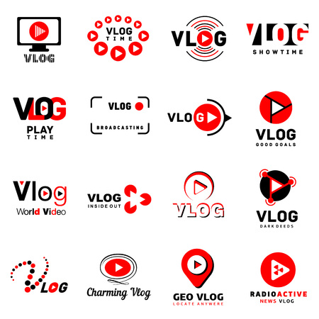 Vlog video channel logo icons set. Simple illustration of 16 vlog video channel logo vector icons for web