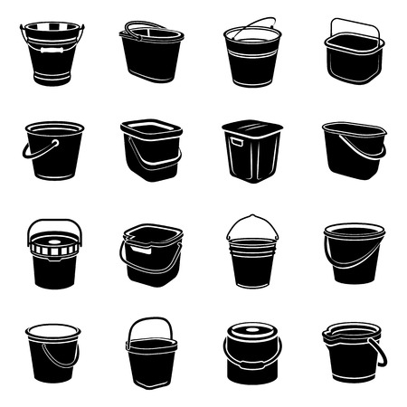 Bucket types container icons set. Simple illustration of 16 bucket types container vector icons for web