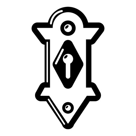 Lock door icon, simple black style