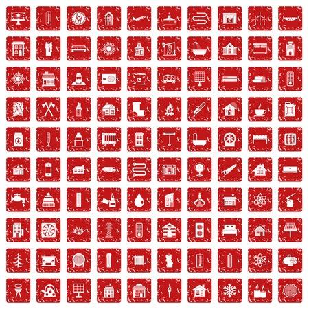 100 icônes de chauffage rouge définies