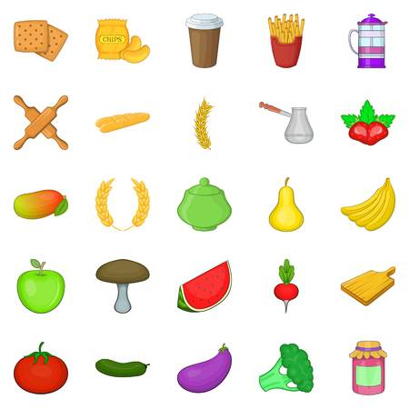 Fruit and vegetable diet icons set, cartoon style