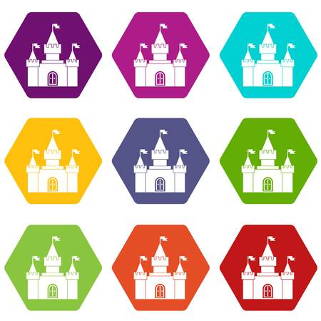 Fortress icon set on colorful hexagons