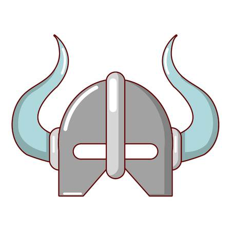 Viking helmet icon, cartoon style Illustration
