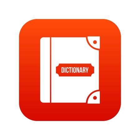 English dictionary icon digital red Vector illustration. Illustration