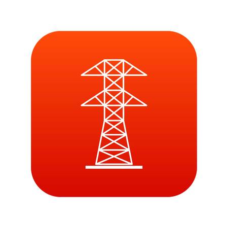 High voltage tower icon digital red